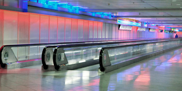 Travelators benefit from smooth stopping and starting when controlled by drives