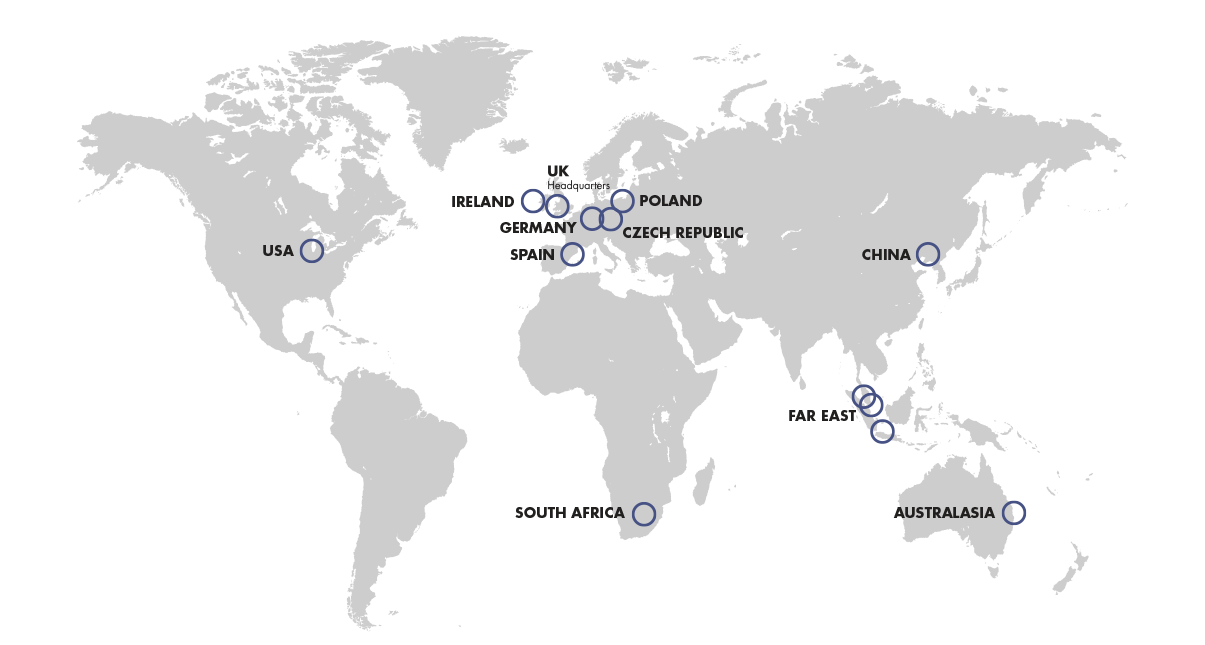 World map showing Invertek Offices